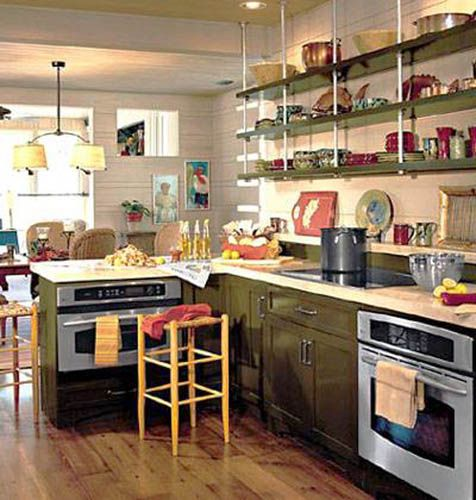 Retro Modern Kitchen Decorating Ideas, Open Kitchen