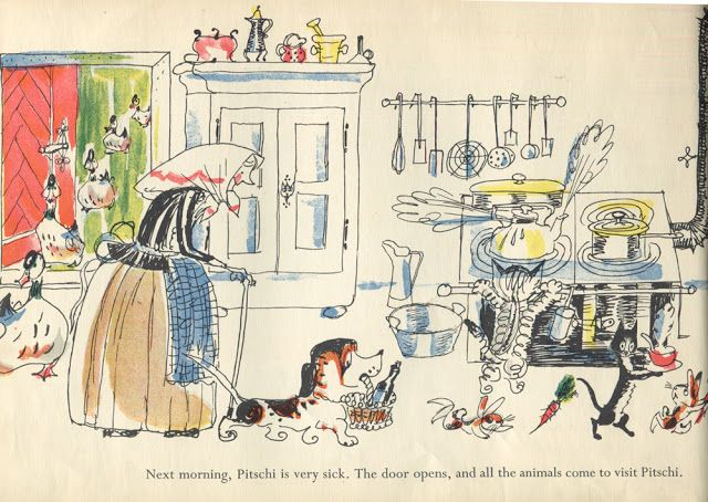 Pitschi (the kitten who always wanted to be something else. A sad story, but one which ends well) by Hans Fischer (1953) | Sweet Juniper's Vintage Kids Books