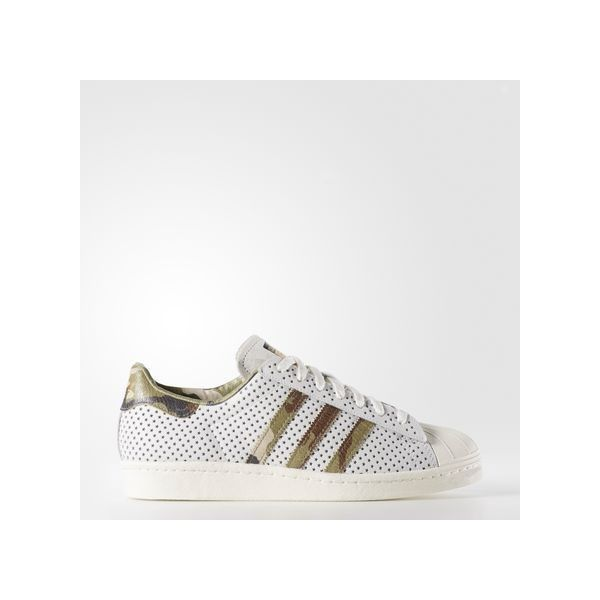 adidas Superstar 80s Shoes ($150) ❤ liked on Polyvore featuring men's fashion, men's shoes, mens metallic shoes, mens camo shoes, mens low tops, mens perforated shoes and mens rock climbing shoes