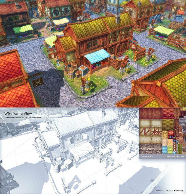 Top-down (Mobile) Modular City Pack - Very Low Poly, Rafał Urbański on ArtStation at https://www.artstation.com/artwork/top-down-mobile-modular-city-pack-very-low-poly