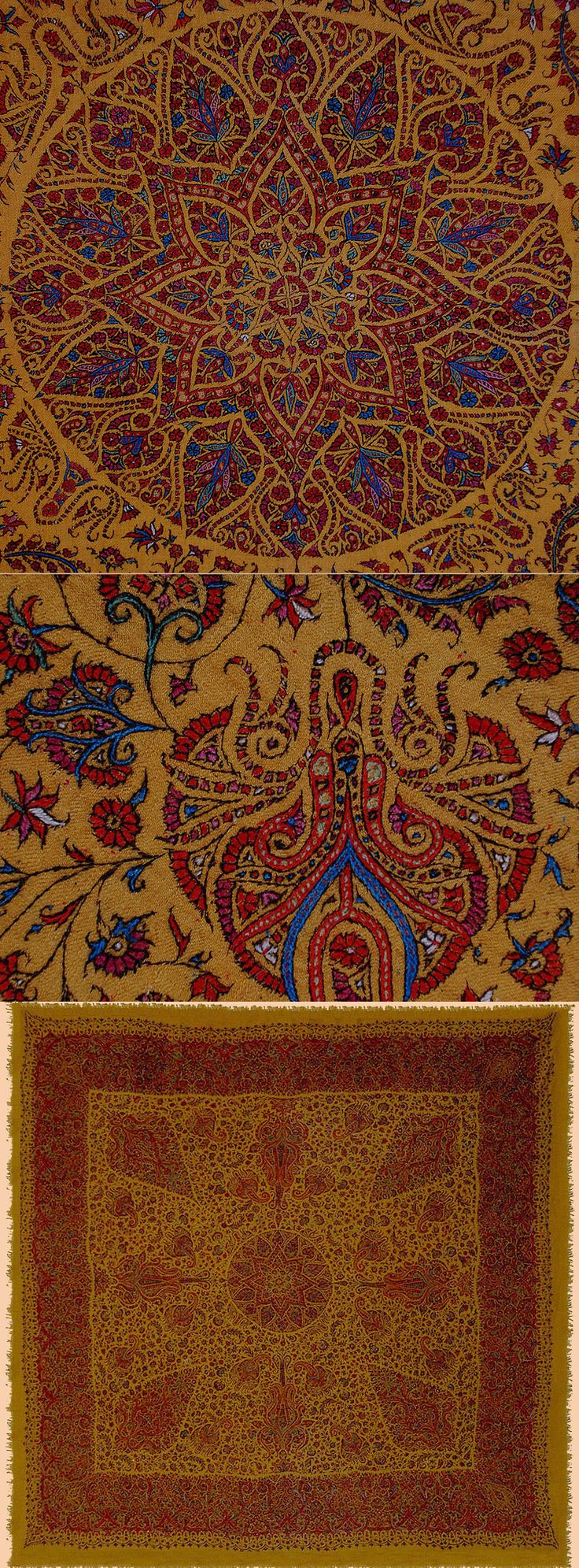 Antique Persian Shawl .Extremely fine Kerman Pateh-Duzi Embroidery wool on wool Shawl with Saffron color Mid 19th Century