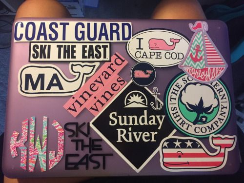 Preppy stickers on mac book laptop vineyard vines southern shirt company monogram etc