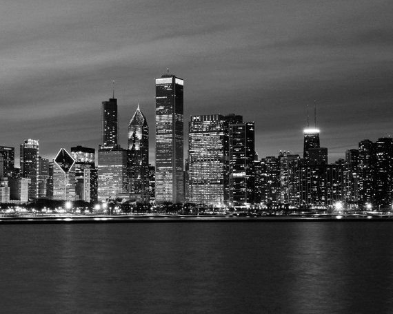 Chicago Skyline Photo Print Black And White Photography Art Large Paper Or Canvas Wall Decor City