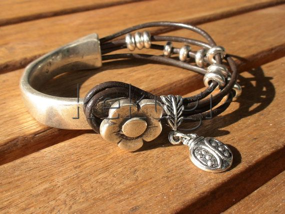 women brown leather bracelet sterling silver plated half cuff button clasp flower