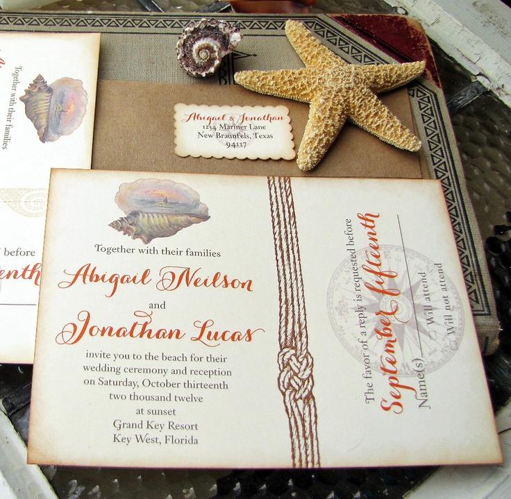 tie the knot wedding invitations etsy%0A Items similar to Vintage Beach Wedding Invitation Destination Wedding on  Etsy
