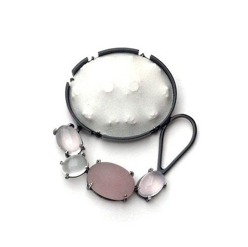"""Laura Wood  """"Something Old, Something New"""" Brooch copper, sterling silver, handmade paper, rose quartz, moonstone, powdercoat 2012 2.5"""" x 2"""" x .75"""" photography: artist"""