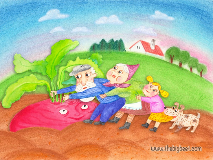(9/14) The dog grabbed the granddaughter, and she grabbed grandma, and grandma grabbed grandpa, and grandpa grabbed the beet, and they pulled and pulled, but they still couldn't pull the beet out of the ground.