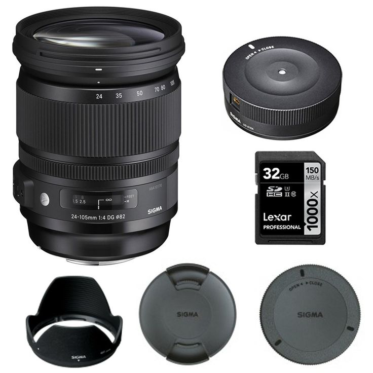Sigma 24-105mm F/4 DG OS HSM Lens for Canon (635-101) with Sigma USB Dock for Canon Lens & Lexar 32GB Professional 1000x SDHC Class 10 UHS-II Memory Card