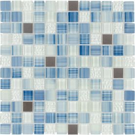 Elida Ceramica Infinite Blue Mixed Material Mosaic Square Indoor/Outdoor Wall Tile (Common: 12-in x 12-in; Actual: 11.75-in x 11.75-in)