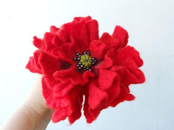 Big Fire Red Poppy Wool Felted Flower Pin Opium by MaijaFeja, $24.00