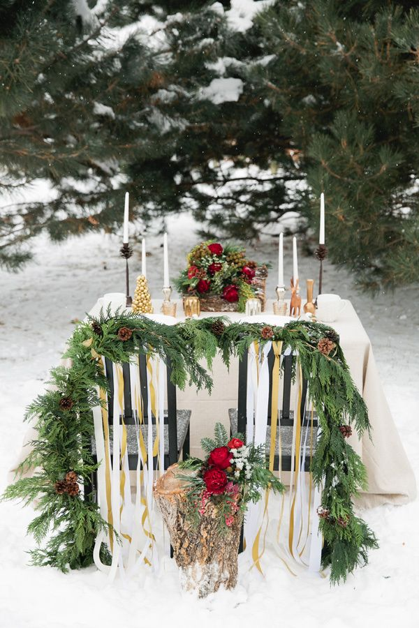 holiday tablescape // photo by Callie Hobbs Photography // http://ruffledblog.com/christmas-woodland-inspiration
