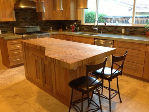 Custom Butcher Block Island Honey Oak Cabinets Maple Butcher Block New Kitchen