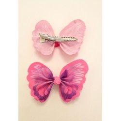 Becco per capelli con farfalla rosa e viola in tessuto