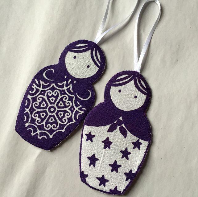 Hanging Russian Babushka Doll Christmas Decorations Purple