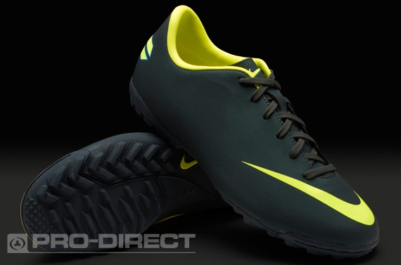 Nike Junior Football Boots - Nike Mercurial Victory III Turf - Astro Turf - Kids Soccer Cleats - Seaweed-Volt-Challenge Red