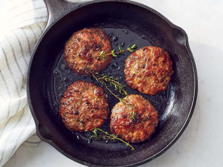 A little ground pork gives ground turkey extra richness; dark maple syrup lends a touch of breakfast-y sweetness, and fresh herbs brighten the mix. In just 25 minutes, you have delicious, freezable patties with 40% less saturated fat and half the sodium of popular commercial brands.