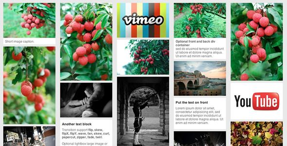 jQuery pinterest style gallery plugin . jQuery has features such as High Resolution: No, Compatible Browsers: IE8, IE9, Firefox, Safari, Chrome, Software Version: jQuery