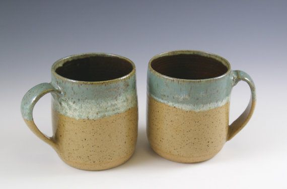 Two Handmade Coffee Mugs 16 oz. Pottery by fineartstoneware
