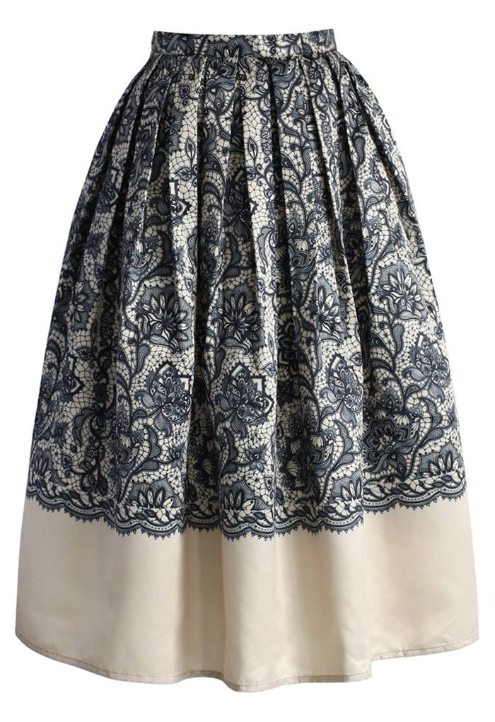 Lace Fantasy Pleated Midi Skirt in Beige