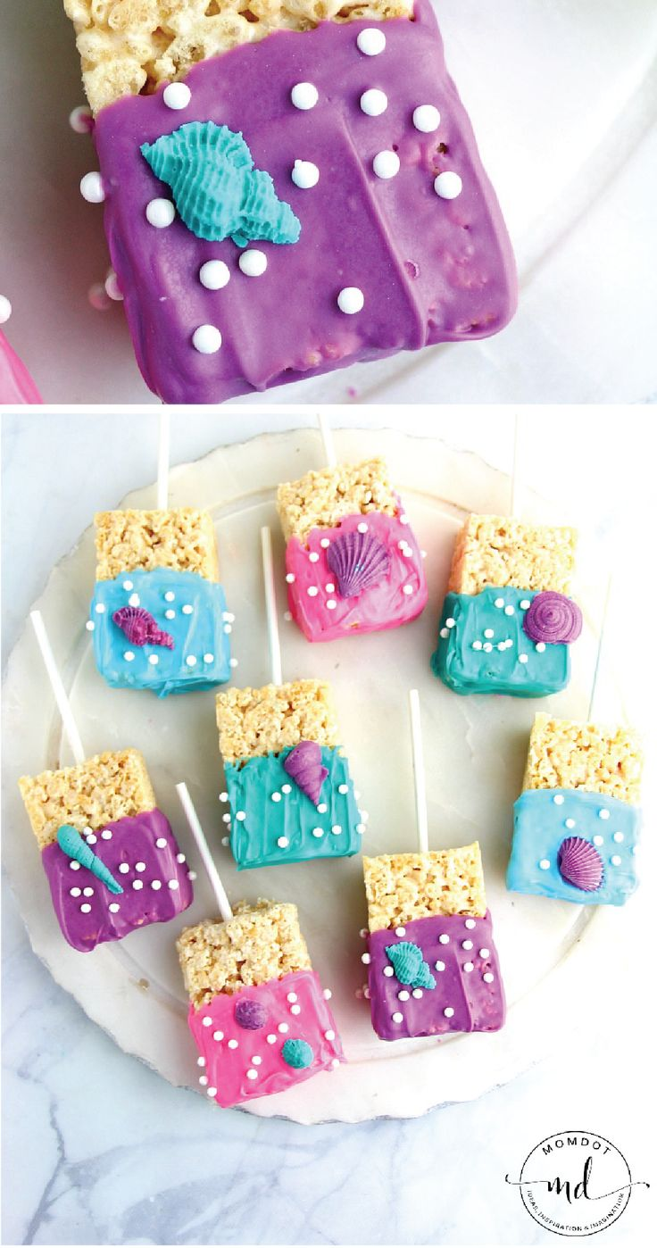 Life is a bubble thanks to these Under the Sea Rice Krispies Treats®. Start with Rice Krispies® cereal. Then, add marshmallows, sprinkles, and a colorful chocolate coating to create this easy mermaid dessert pop. This sweet recipe would be a hit at a kid's birthday party.