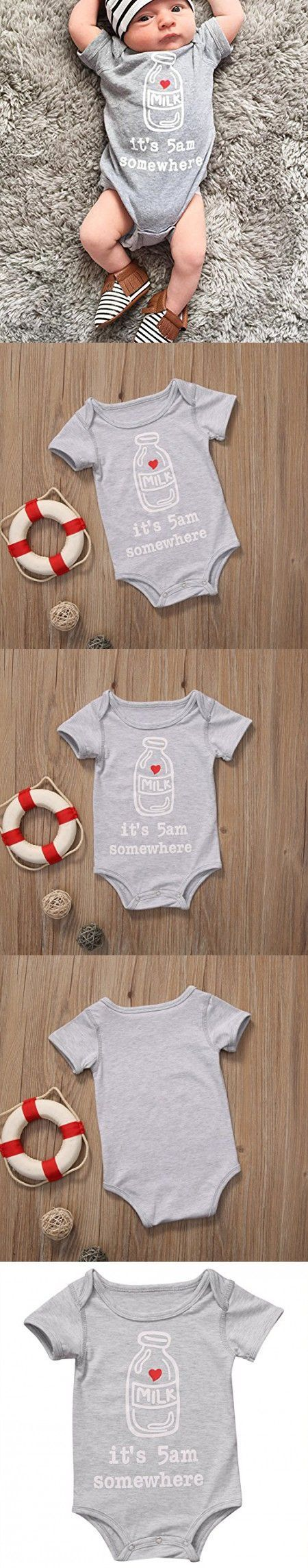 "IT'S 5AM SOMEWHERE ROMPER  Newborn Infant Kids Baby Boy Girl ""It's 5 AM Somewhere"" Romper Clothes Outfits (0-24M)  https://presentbaby.com"