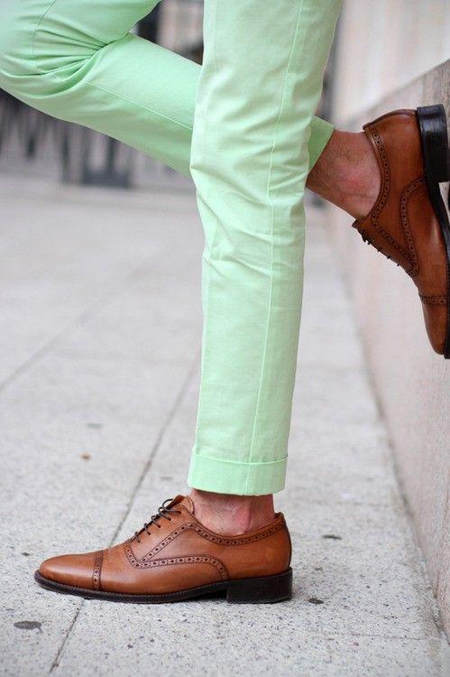 Mint Pants, Colors Combos, Colors Pants, Mint Green, Oxfords Shoes, Jeans, Men Fashion, Leather Shoes, Green Pants