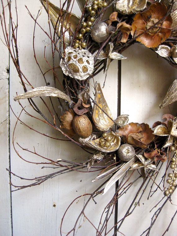 Winter Wreath  Elegant Decor  Gold  Natural  by TheLinnetsWing, $84.00