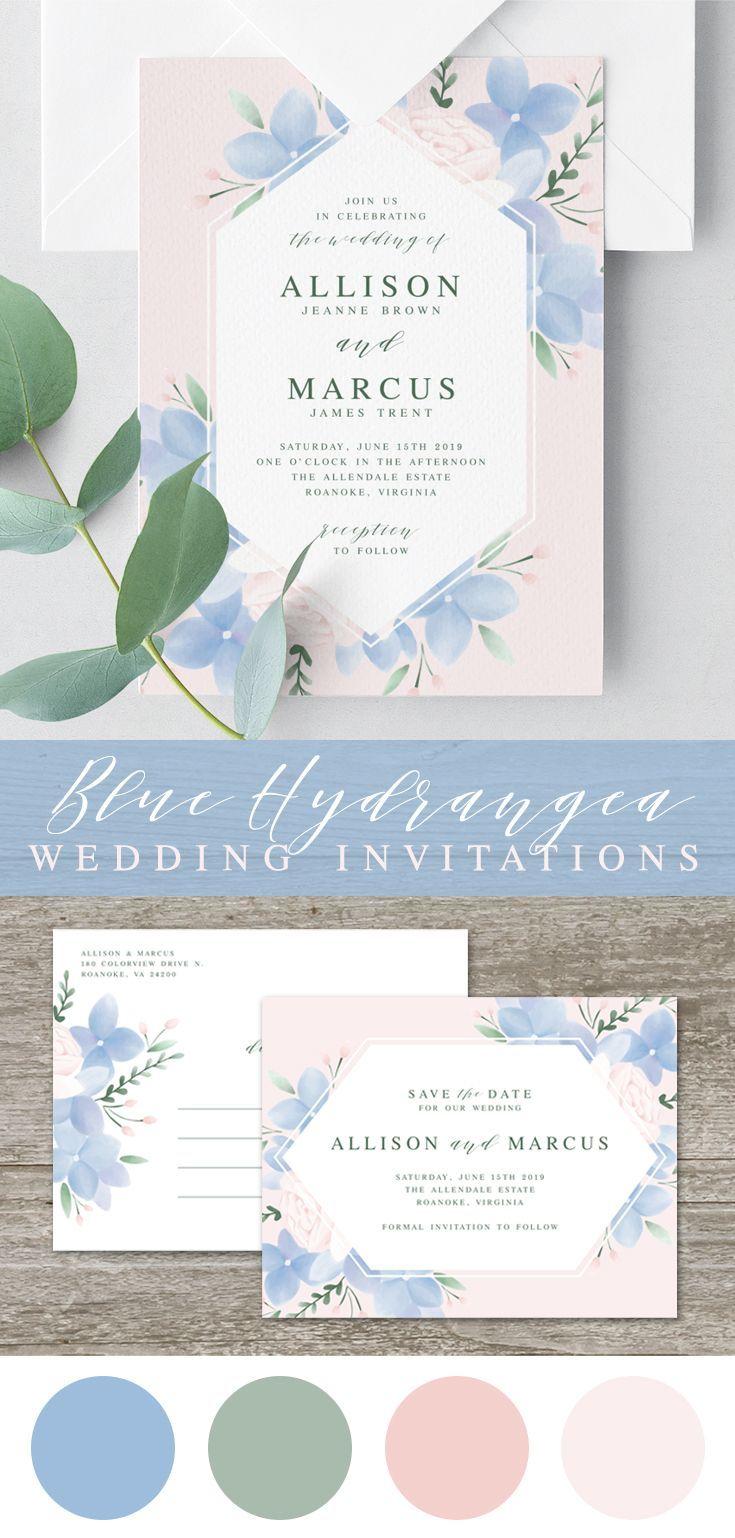 Hydrangea Wedding Invitation Template Printable Wedding  Etsy