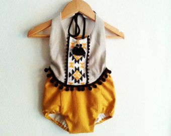Baby Girl Romper/ Linen Boho Chic Sunsuit/ Baby Clothes/ Tribal romper/ Photo Props/ Size: NB,0-3,3-6,6-12,12-18,18-24 mths, 2T-4T