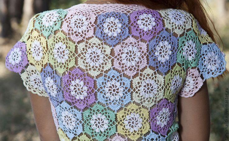 """Купить Блузка вязаная крючком """" Радуга"""" - блузка крючком, блузка женская, блузка нарядная"""