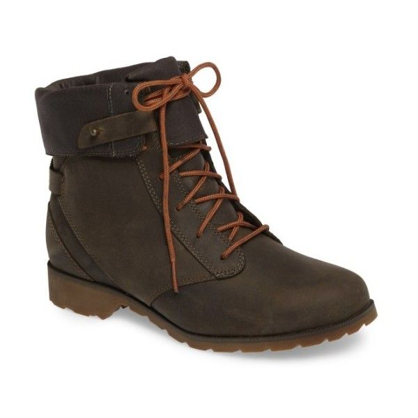 Women's Teva 'De La Vina' Waterproof Lace-Up Boot (7,140 PHP) ❤ liked on Polyvore featuring shoes, boots, dark olive leather, teva shoes, waterproof leather boots, lace up fold over boots, fold-over boots and lace up boots