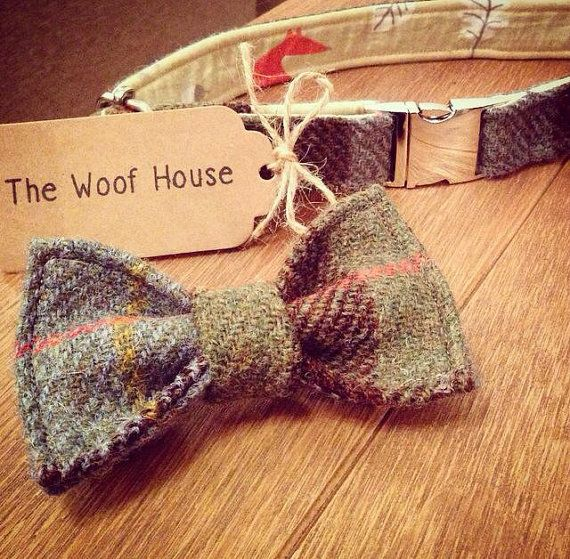 Dog Bow Tie made with 100% wool Harris Tweed  These super cute bow ties attach to your dogs collar for comfort and ease  Bow Ties are secured by two
