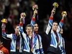 Team GB celebrate bronze medal in men's Artistic Gymnastics