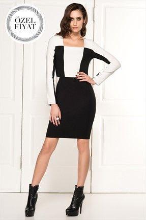 Milla by trendyol  - Siyah Beyaz Blok Elbise MLWAW141757 %64 indirimle 49,99TL ile Trendyol da