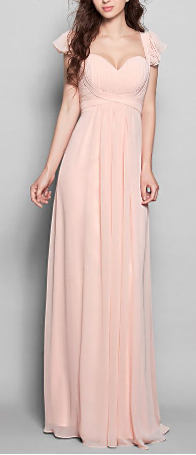 Blush chiffon bridesmaid dress