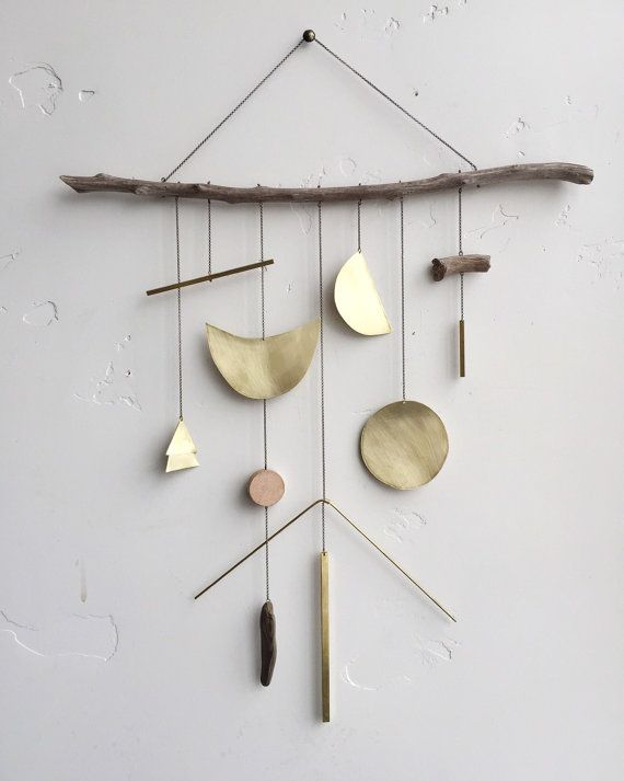 Brass geometric wall hanging geometric by ELECTRICSUNCREATIVES