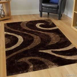 shop for allstar brown shaggy area rug with 3d brown circle design formal hand tufted 5u0027 x 7u0027 get free shipping at your
