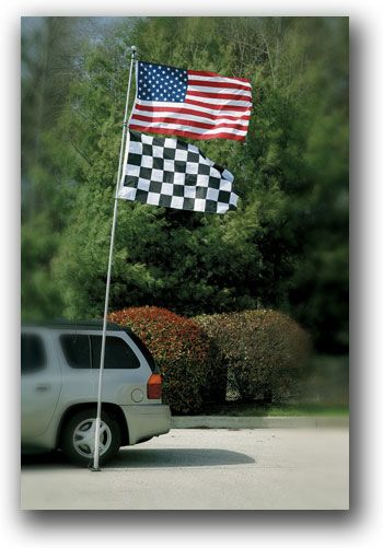 16' Race day/ Game day Flagpole  Gameday Flagpole is 16' tall made of fiberglass and can hang up to 2-single sided 3'x5' Flags. Portable drive on base folds down for easy transport. Has 3 hooks to hang both flags if desired. Telescoping poles extend and then twist to tighten. $99.00 #NASCAR #tailgating #gifts #raceday #gameday   Visit us At www.nascarshopping.net for more NASCAR merchandise