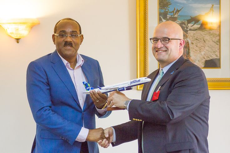 Prime Minister of Antigua and Barbuda ,Gaston Browne and Mr. Marty St. George Jet Blue Airways' Executive Vice President, Commercial and Planning in the Jet Blue Meeting.