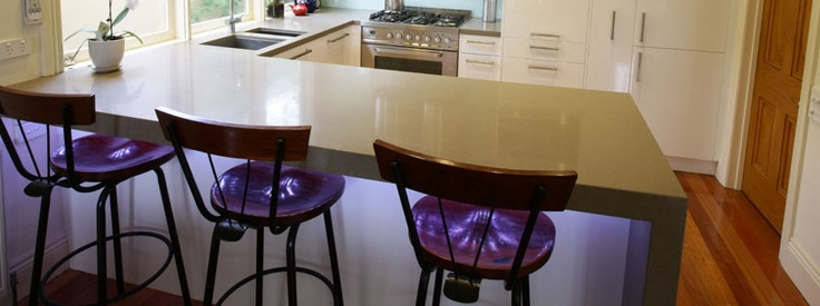 LED strip lighting under Caesarstone benchtop in a Clifton Hill kitchen renovation, Melbourne.