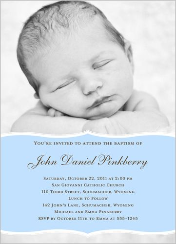 Pretty Precious Blue Baptism Invitation