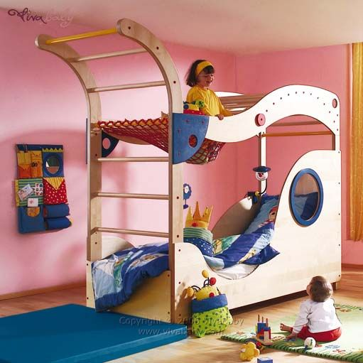awesome bunk bed!: Kids Beds, Kid Beds, For Kids, Fun Kids, Awesome Bunk Beds, Awesome Beds, Bedrooms Playrooms Children, Kids Rooms, Swings Beds