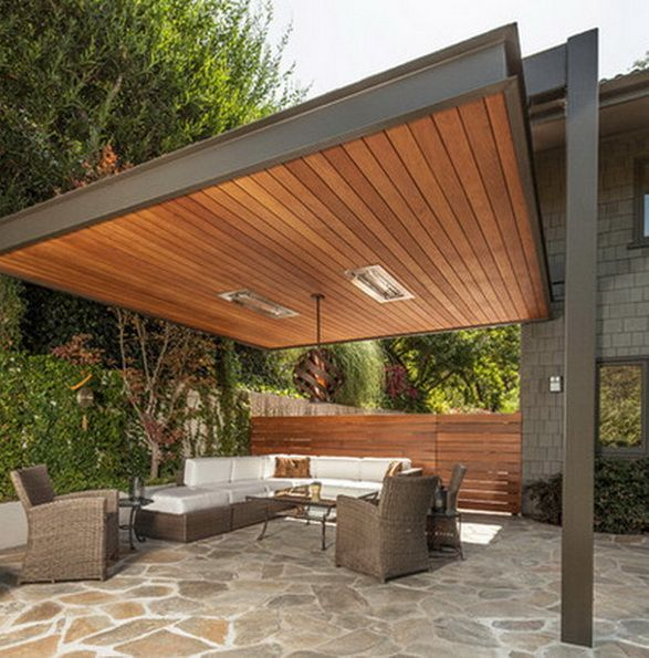 Like modern approach but not wooden top - fine in large open space and v sunny climate -Backyard Patio Design Idea