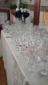 Collection of Vintage Champagne flutes, ready for the toast.