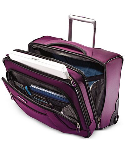 """Top quality Samsonite design grants you easy access to all of your work materials on the go with this LiteAir rolling mobile office. 