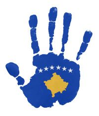 Handprints with Kosova flag illustration