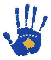 Handprints with Kosova flag illustration