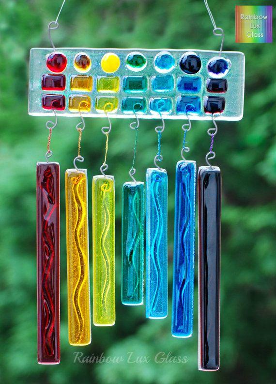 Rainbow WindChime Suncatcher for Garden or Home, Very Colourful Fused Glass Art…