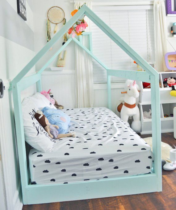 new style 16d8f d1945 Twin House Bed Frame + mattress slats + chimney Made in US ...