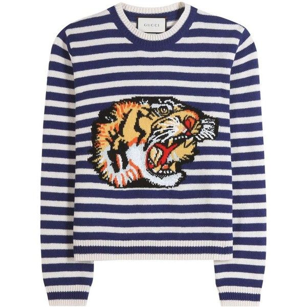 Gucci Wool Sweater (€1.370) ❤ liked on Polyvore featuring tops, sweaters, multicoloured, colorful sweaters, multi color tops, multicolor sweater, wool sweaters and gucci
